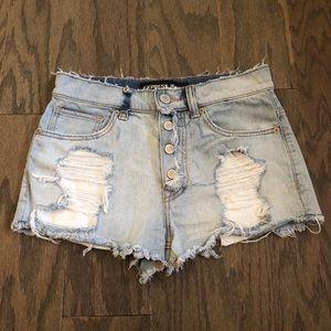 Express Jeans Light Wash Destroyed Denim Shorts